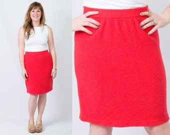 Vintage Coral Red Textured Knit Knee Length Pencil Skirt * Preppy Pin Up Retro Fitted Wiggle * Size Medium * FREE SHIPPING