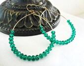 Gold Hoop Earrings. Large Beaded Hoops. Emerald Green Dark Teal Beads. Skinny Circle Dangle Earrings