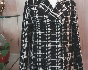 EMANUEL UNGARO Checkered Houndstooth Black and White Mid Coat - Size 8