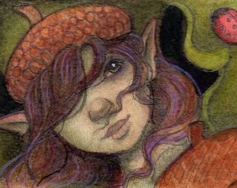 Original ACEO....Fairy Art....Mixed Media Illustration