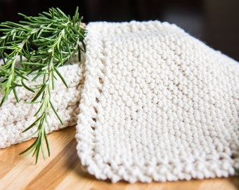 Cream Colored Cotton Hand Knit Dishcloth