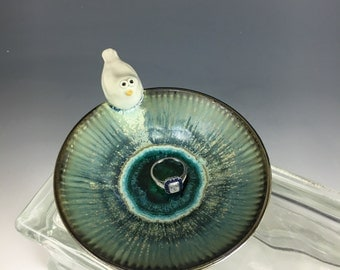 White Dove Silvery Blue Porcelain Bowl