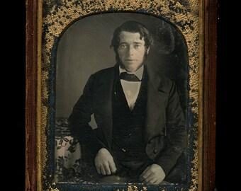 TWO 1/4 Daguerreotypes of Men ~ 1840s