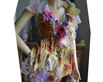 RESERVED Unique Art To Wear Romantic Tunic/Top SUMMER FLOWERS Cinderella Boho Gipsy Fairy Tattered