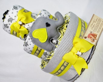 Baby Diaper Cake Elephant with Yellow and Gray Shower Gift or Shower Centerpiece