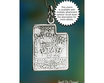 Utah Charm Sterling Silver State America USA Solid .925