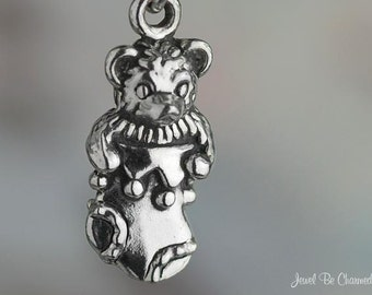 Sterling Silver Teddy Bear in Christmas Stocking Charm 3D Solid .925