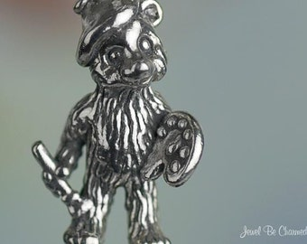 Sterling Silver Artist Bear Charm Palette Beret Paint Brush Solid .925