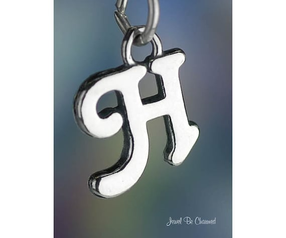 Sterling Silver Script Letter H Charm Initial Cursive Shiny Solid .925