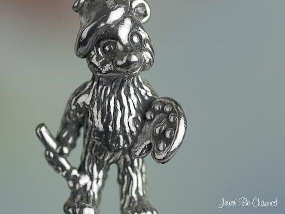 Artist Bear Charm Sterling Silver Palette Beret Paint Brush Solid .925