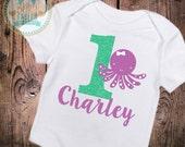 Personalized 1st Birthday shirt bodysuit first birthday sparkly baby shirt glitter shirt ONE Birthday Girl Under the Sea Birthday Octopus