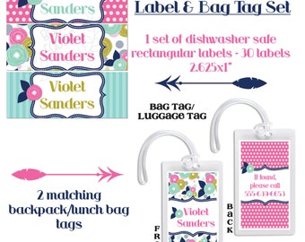 Personalized Waterproof Labels, Waterproof Stickers, Bag Tags, Backpack Tag, Luggage Tags, Back to school starter set, kindergarten labels