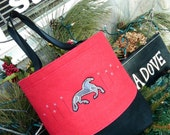Custom Embroidered Red Nordic horse purse