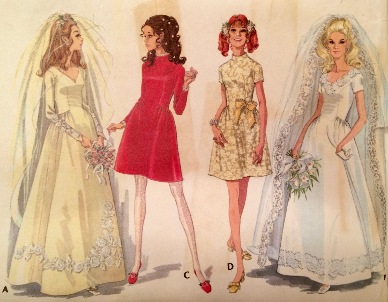 Mccalls bridal gown pattern 1960 39 s mccalls 9758 for Wedding dress patterns mccalls