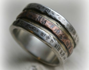 mens wedding band - rustic fine silver 14K yellow and rose gold - handmade artisan designed wide band ring - manly ring - industrial, custom