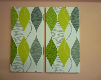 Big Lime Green Fabric Wall Art Funky Retro Designer Cotton 2 piece Picture Hanging