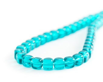 Teal Glass Squares, Pressed Czech Glass Cube Beads (5/7mm) x 25