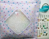 I Spy Bag Lavender Dots Neutral themed contents girls boys seek and find game party favor sensory occupational therapy