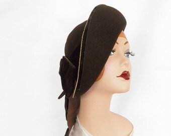 1930s tilt hat, brown with velvet bow, NY Creation