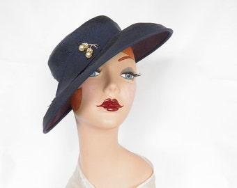 Vintage 1950s 1960s hat, navy blue dress hat
