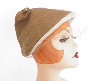 Vintage 1950s hat, pixie caramel brown