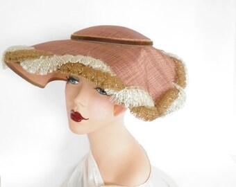 Vintage 1950s hat, mauve toque Audrey Hepburn, excellent