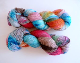 "Hand dyed BFL lace yarn - SW Bluefaced Leicester wool, Tea Time base - Colourway ""The Secret Garden"""