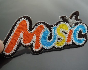 Iron On Patch - MUSIC Patches Colorful Letter Font patch Applique embroidered patch Sew On Patch