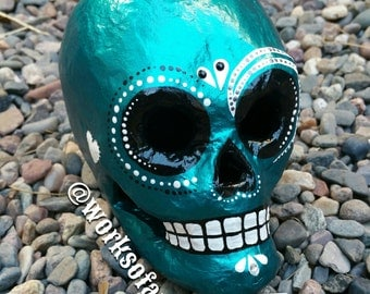 Metallic Turquoise Sugar Skull (Ready to ship)