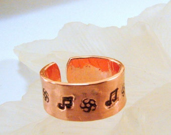 Pure Copper Hand Stamped Ring (Toe or Finger) Musical Note and Flower