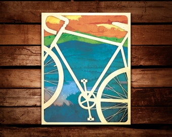 """Bicycle Fine Art Print 16x20"""" Bicycling Poster"""