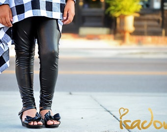 girls black faux leather leggings LIMITED EDITION