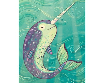 Narwhal Art: Happy swimming narwhal illustration, available in three sizes
