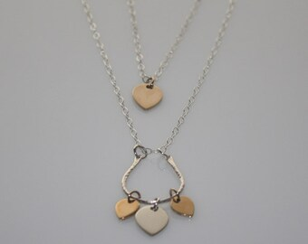 LAYERED NECKLACE SET and Earrings  - Petal Charm Necklaces and Earrings, Sterling Silver Bronze,