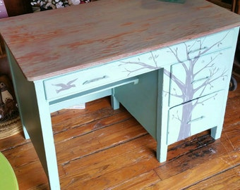 Rustic primitive Whimsical Rustic Tree Student Desk Blithe seafoam bible verse Blue Salvaged Refinished WHAGN