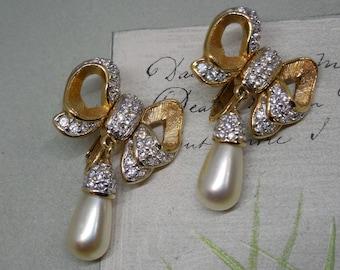 Best Rhinestone Bow & Dangle Pearl Wedding Earrings Signed S.A.L.