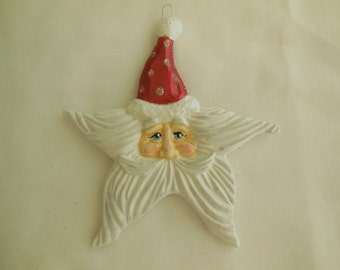Ceramic Santa Star Christmas Tree Ornament