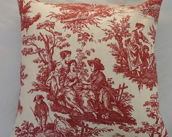 Pillow Cover Waverly Red Garnet French Toile Country Life    18x18 inches