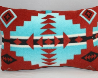 Lumbar Pillow  Navajo Inspired Blue Red and Gray Fleece     14 x 9 inches