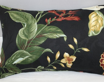 Lumbar Pillow  Waverly Black Williamsburg Garden images    14 x 9 inches