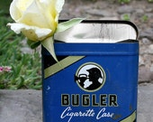 Antique Bugler Cigarette Case Blue Tin Box Great Collectable Storage and Home Decor