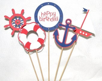 Red & Navy Nautical Centerpiece Sailing 1st Birthday Party Decoration Nautical Table Decoration Birthday Cake Topper READY TO SHiP
