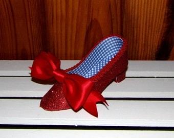 Ruby Red Slipper Low Heel  Paper Shoe Favor Box