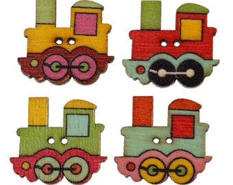 "9 pcs Train Assorted Wooden Buttons - 25mm x 22mm (1"" x 0.87 in)"