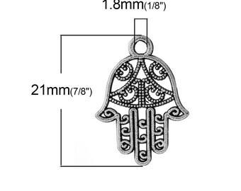 50 pcs. Antique Silver Hamsa Hand Symbol Charms Pendants - 21mm x 15mm