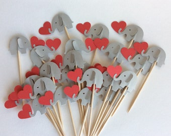 24 gray and red  elephant cupcake toppers Party Picks - Cupcake Toppers Baby Shower - Food Picks