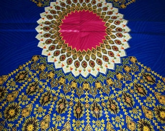 Royal Blue Java wax print fabric per design panel/ dashiki Angelina fabrics/ Dashiki clothing/ Dashiki Bags/ Kitenge fabric #RBJ111