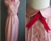 deadstock 50s lilac/pink cotton sateen wiggle dress ohrbachs shirtdress 50s shirtdress 1950s shirt dress summer dress sundress 50s sundress