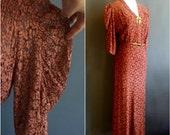 1930s lace dress, terracotta pink-brown lace dress, matching slip, medium size, 1930s dress, 30s dress