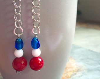 Something red, white or blue 4th of July Earrings Handmade in Chicago by VZuniga Designs